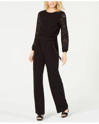 3bc12595031 Michael Kors Chain-Neck Matte-Jersey Jumpsuit in Black - Lyst