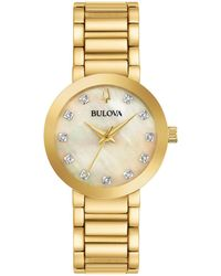 Bulova - Modern Diamond-accent Gold-tone Stainless Steel Bracelet Watch 30mm, Created For Macy's - Lyst
