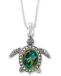 "Effy Collection - Effy® Paua Shell Turtle 18"" Pendant Necklace In Sterling Silver & 18k Gold - Lyst"