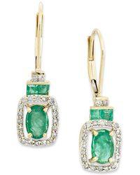Macy's - 14k Gold Earrings, Emerald (1-1/6 Ct. T.w.) And Diamond (1/5 Ct. T.w.) Rectangle Drop Earrings - Lyst