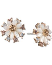 Lonna & Lilly - Gold-tone White Flower Stud Earrings - Lyst
