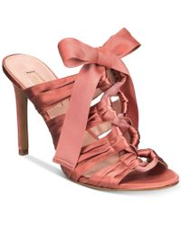 Avec Les Filles | Janelle Satin Lace-up Dress Sandals | Lyst
