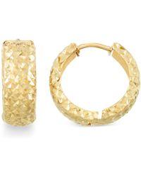 Macy's - Textured Huggy Hoop Earrings In 14k Gold - Lyst