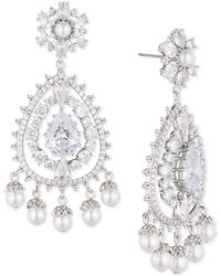 Marchesa - Silver-tone Crystal & Imitation Pearl Chandelier Earrings, Created For Macy's - Lyst