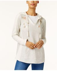 Style & Co. - Embroidered Tassel Hoodie - Lyst