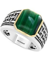 Effy Collection - Men's Malachite (13 X 11mm) Ring In Sterling Silver And 14k Gold - Lyst