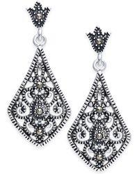 Macy's - Marcasite Filigree Drop Earrings In Silver-plate - Lyst