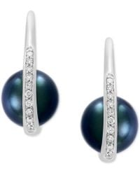 Effy Collection - Cultured Black Tahitian Pearl (8mm) And Diamond (1/8 Ct. T.w.) Drop Earrings In 14k White Gold - Lyst