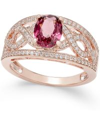 Macy's - Rhodolite Garnet (1-3/8 Ct. T.w.) And Diamond (3/8 Ct. T.w.) Openwork Ring In 14k Rose Gold - Lyst