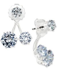 INC International Concepts - Silver-tone Crystal Double-stud Earring Jacket Earrings - Lyst