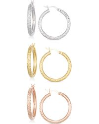 Macy's - Set Of Three Textured Hoop Earrings In 14k Tri-gold Vermeil - Lyst