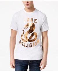 True Religion - Copper Snake Metallic Logo-print T-shirt - Lyst