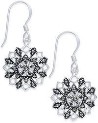 Macy's - Marcasite Flower Drop Earrings In Silver-plate - Lyst