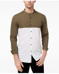 Kenneth Cole Reaction - Colorblocked Band-collar Shirt - Lyst