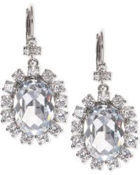 Marchesa - Silver-tone Cubic Zirconia Halo Oval Drop Earrings, Created For Macy's - Lyst