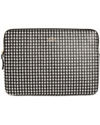 Kate Spade - Houndstooth Faux Leather Universal Laptop Sleeve - - Lyst