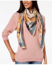 Vince Camuto - Dreamtime Flowers Striped-border Square Scarf - Lyst