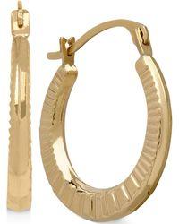 Macy's - Ribbed-style Hoop Earrings In 10k Gold, 2/3 Inch - Lyst