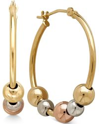Macy's - Tri-tone Beaded Hoop Earrings In 10k Yellow, White And Rose Gold - Lyst