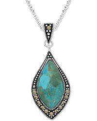 "Macy's Marcasite & Blue Stone 18"" Pendant Necklace In Fine Silver-plate"