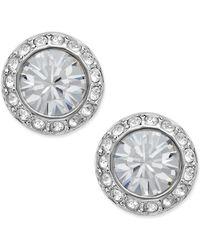 Swarovski - Earrings, Silver-tone Crystal Circle Stud - Lyst