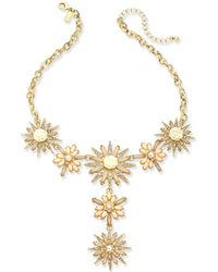 "INC International Concepts - Gold-tone Stone & Crystal Flower Lariat Necklace 15"" + 3"" Extender - Lyst"