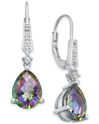 Macy's - Gemstone (3 Ct. T.w.) And Diamond Accent Birthstone Drop Earrings In Sterling Silver - Lyst