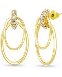 Catherine Malandrino - White Rhinestone 2-layer Oval Yellow Gold-tone Hoop Earrings - Lyst