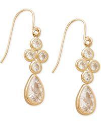 Macy's - Cubic Zirconia Drop Earrings In 10k Gold, 1 Inch - Lyst