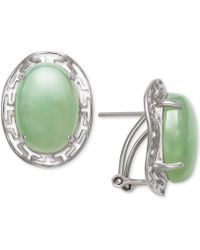 Macy's - Dyed Jadeite (10 X 14mm) Greek Key Oval Drop Earrings In Sterling Silver - Lyst