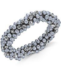 Charter Club - Silver-tone Crystal & Gray Imitation Pearl Cluster Bracelet - Lyst