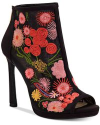Save Jessica Simpson Pascall Floral Embroidered Shooties Women Black Fine Mesh