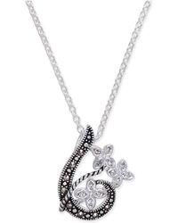 Macy's - Marcasite & Crystal Flower Swirl Pendant Necklace In Fine Silver-plate - Lyst