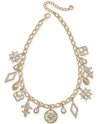 """Charter Club - Gold-tone Crystal Charm Collar Necklace, 17"""" + 2"""" Extender, Created For Macy's - Lyst"""