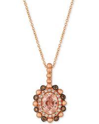 Le Vian - Peach Morganitetm (7/8 Ct. T.w.) & Diamond (1/4 Ct. T.w.) Pendant Necklace In 14k Rose Gold - Lyst