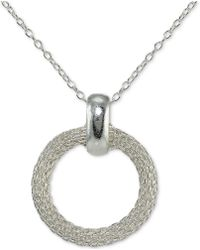 Giani Bernini - Mesh Circle Pendant Necklace In Sterling Silver - Lyst