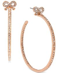 Betsey Johnson - Rose Gold-tone Crystal Bow Hoop Earrings - Lyst