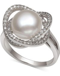 Macy's - Cultured Freshwater Pearl (9mm) & Cubic Zirconia Statement Ring In Sterling Silver - Lyst
