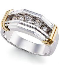 Macy's - Men's Diamond Ring (1/2 Ct. T.w.) In 10k Gold And White Gold - Lyst