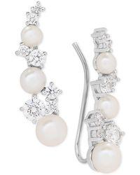 Arabella - Cultured Freshwater Pearl (3-1/2 - 5-1/2mm) & Swarovksi Zirconia Ear Climbers - Lyst