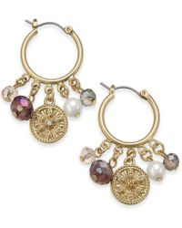Charter Club - Gold-tone Coin, Bead & Imitation Pearl Hoop Earrings, Created For Macy's - Lyst