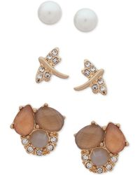 Lonna & Lilly - Gold-tone 3-pc. Set Crystal, Stone & Imitation Pearl Stud Earrings - Lyst