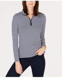 Charter Club - Petite Striped Mock-neck Top, Created For Macy's - Lyst