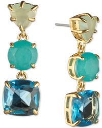 Carolee - Gold-tone Stone Triple Drop Earrings - Lyst