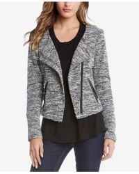 Karen Kane - Faux-leather-trim Tweed Moto Blazer - Lyst