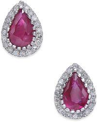Macy's - Certified Ruby (3/4 Ct. T.w.) & Diamond (1/8 Ct. T.w.) Stud Earrings In 14k White Gold - Lyst
