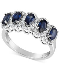 Macy's - Sapphire (1-5/8 Ct. T.w.) & Diamond (1/3 Ct. T.w.) Ring In 14k White Gold (also Available In Emerald & Ruby) - Lyst