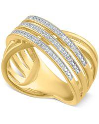 Macy's - Diamond Crisscross Statement Ring (1/4 Ct. T.w.) - Lyst