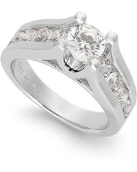 Macy's - Certified Diamond Channel Engagement Ring In 14k White Gold (2 Ct. T.w.) - Lyst