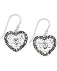 Macy's - Marcasite Filigree Heart Drop Earrings In Fine Silver Plate - Lyst
